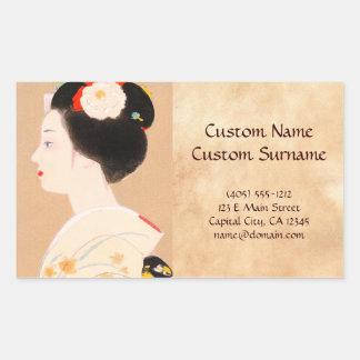 Maiko japanese girl in kimono lady woman geisha rectangular sticker