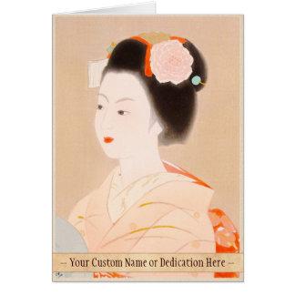 Maiko japanese lady woman girl kimono art greeting card