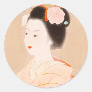 Maiko japanese lady woman girl kimono art classic round sticker