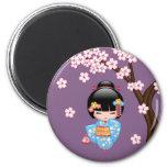 Maiko Kokeshi Doll - Blue Kimono Geisha Girl 2 Inch Round Magnet