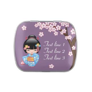 Maiko Kokeshi Doll - Blue Kimono Geisha Girl Jelly Belly Tin