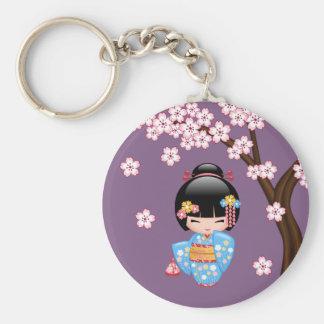 Maiko Kokeshi Doll - Blue Kimono Geisha Girl Keychain