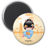 Maiko Kokeshi Doll - Cute Japanese Geisha Girl 2 Inch Round Magnet