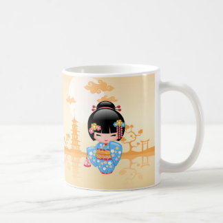 Maiko Kokeshi Doll - Cute Japanese Geisha Girl Coffee Mug