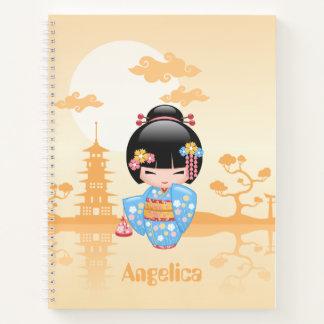 Maiko Kokeshi Doll - Cute Japanese Geisha Girl Notebook