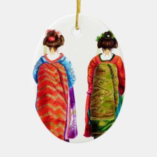 Maikos Double-Sided Oval Ceramic Christmas Ornament