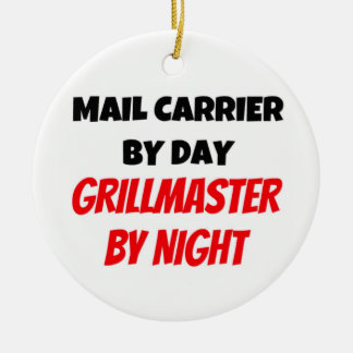 Mail Carrier by Day Grillmaster by Night Double-Sided Ceramic Round Christmas Ornament