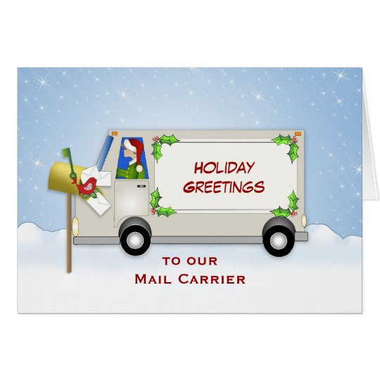 Mail Carrier Christmas Card-Mail Truck-Mail Box Card