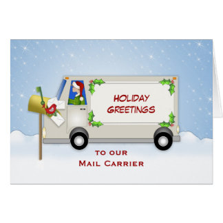 Mail Carrier Christmas Card-Mail Truck-Mail Box Greeting Card