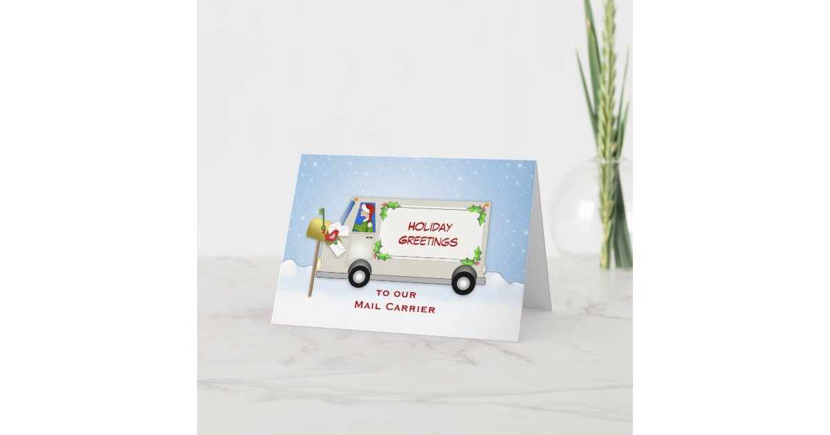 Mail Carrier Christmas Card-Mail Truck-Mail Box Holiday Card ...