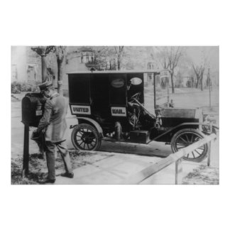 "Mail Carrier with ""United Mail"" Automobile Poster"