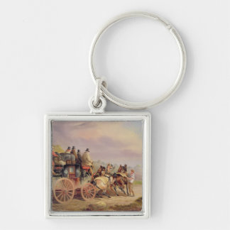 Mail Coaches on the Road: The 'Quicksilver' Devonp Silver-Colored Square Keychain