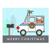 Mail Man or Lady Christmas Holiday Thank You Postcard