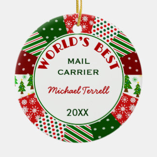 Mail or Delivery Person Christmas gift Ceramic Ornament
