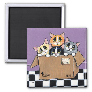 Mail Order Kittens in a Box Painting 2 Inch Square Magnet