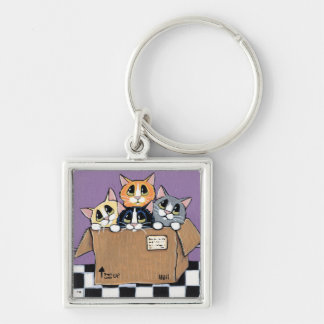 Mail Order Kittens in a Box Painting Keychain
