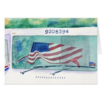 Mail Postal Truck and Flag Greeting Card