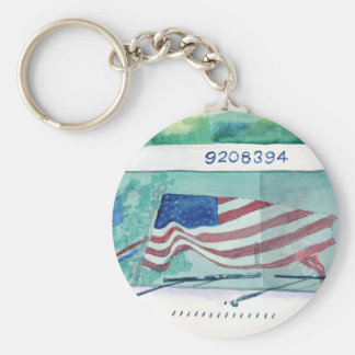 Mail Postal Truck and Flag Keychain