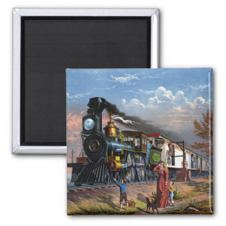 MAIL TRAIN ~ 2 INCH SQUARE MAGNET