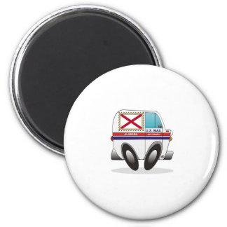 Mail Truck Alabama 2 Inch Round Magnet