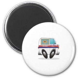 Mail Truck DELAWARE 2 Inch Round Magnet