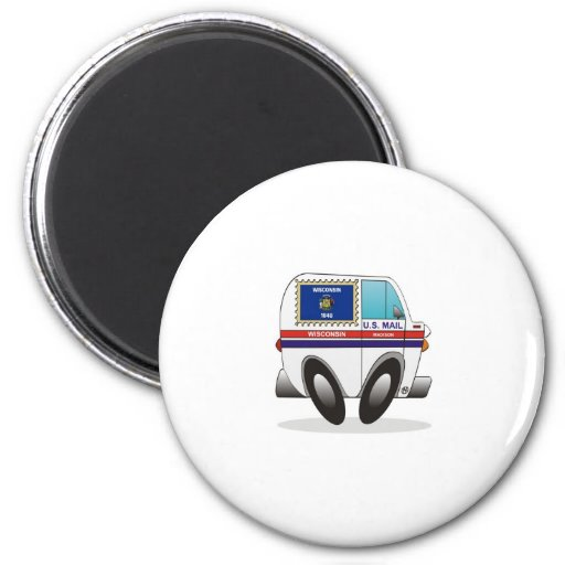 Mail Truck WISCONSIN Refrigerator Magnets