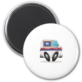 Mail Truck WYOMING 2 Inch Round Magnet