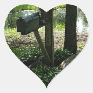 Mailbox by the pond heart sticker