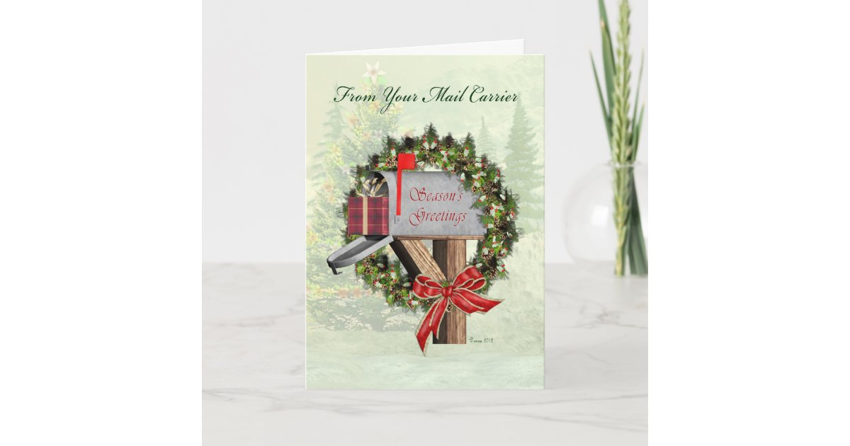Mailbox Season\'s Greetings from Mail Carrier Holiday Card | Zazzle.com