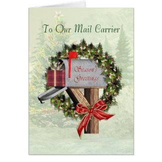 Mailbox Season's Greetings To the Mail Carrier Greeting Card