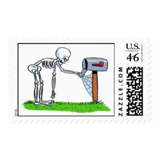 mailbox skeleton halloween postage stamp