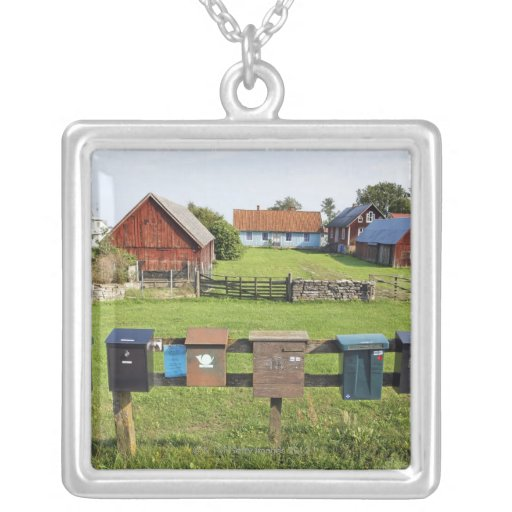 Mailboxes and Houses Square Pendant Necklace