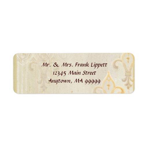 Mailing Labels - Fleur di Lys Damask 2 Cream