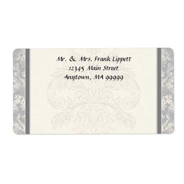 Professional Business Mailing Labels - Fleur di Lys Damask - Grey