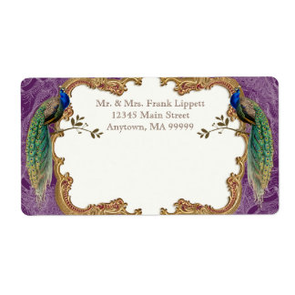Mailing Labels - Golden Peacock & Calligraphy