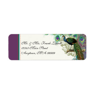 Mailing Labels - Vintage Peacock, Feathers n Etch