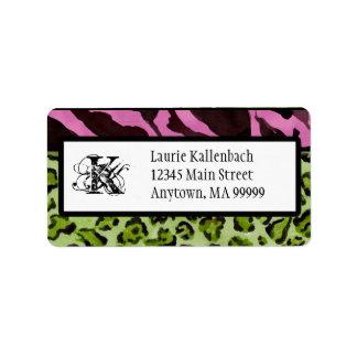 Mailing Labels - Zebra 'n Leopard Monogrammed
