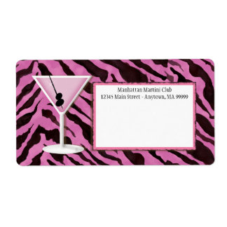 Mailing Labels - Zebra Print 'n Martini