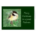 Mailman Christmas Chickadee Bird Holly Nature Greeting Card
