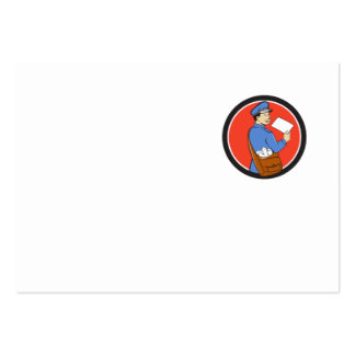 Mailman Deliver Letter Circle Cartoon Large Business Card