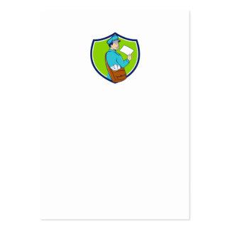 Mailman Deliver Letter Crest Cartoon Large Business Card