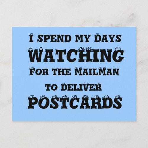 mailman Delivering Postcards - Funny Eyes Postcard