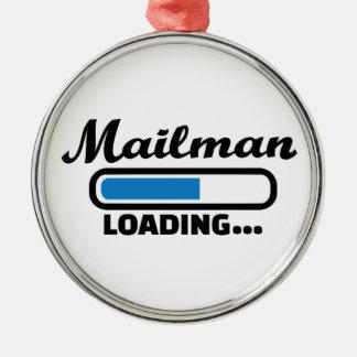 Mailman loading metal ornament