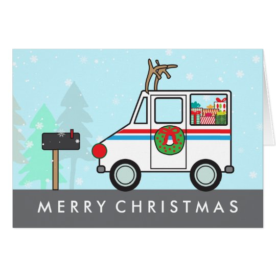 Mailman Mail Lady Christmas Holiday Thank You Card