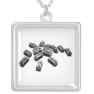 main battle tank silver plated necklace