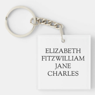 Main Characters Pride and Prejudice Jane Austen Keychain