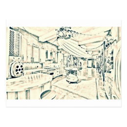 main characters room postcard