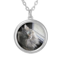 Main Coon Kitty Cat Round Pendant Necklace