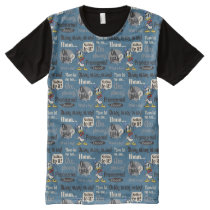 Main Mickey Shorts | Donald Duck Blue Pattern All-Over-Print T-Shirt