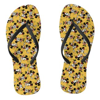 Main Mickey Shorts | Minnie Mouse Yellow Pattern Flip Flops